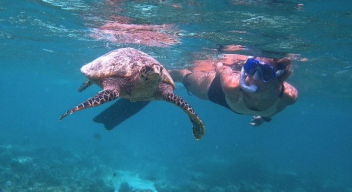 woman snorkeling in the maldives