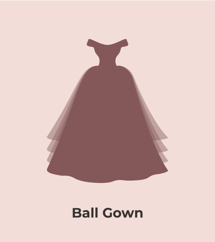 graphic of a ball gown style wedding dress